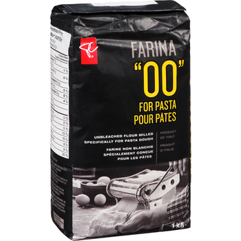 """PC Black Label """"00"""" Farina Enriched,Unbleached Fine Wheat Flour for Pasta, 1kg/35.3oz, {Imported from Canada}"""