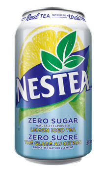 Nestea Zero Iced Tea Soft Drinks, 341mL/11.5oz., cans, 12ct, {Imported from Canada}