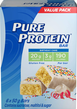 Pure Protein Bars, Gluten Free, Snack Bar, Birthday Cake, 50g/1.8oz., 6ct, {Imported from Canada}
