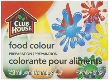 Club House, Food Colour Preparation, Original, 7.1ml, 4 Vials, {Imported from Canada}