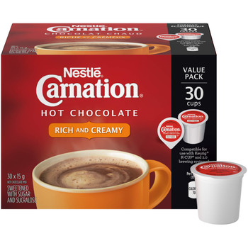 Nestle Carnation Rich and Creamy Hot Chocolate Keurig Compatible K-Cup Capsule Pods, 30 x 15g, 30 cups {Imported from Canada}