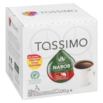 Tassimo Nabob 100% Columbian Coffee Single Serve T-Discs, 28 T-Discs, {Imported from Canada}