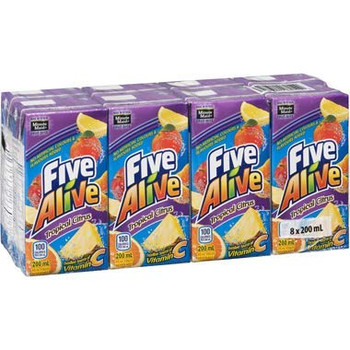 Five Alive Tropical Citrus Juice Box (8ct), 200ml/6.7 fl. oz., {Imported from Canada}
