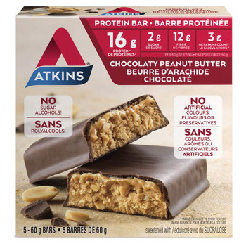 Atkins Protein Bars, Chocolaty Peanut Butter, 2g Sugar, 5-Count, {Imported from Canada}