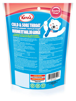 Kerr's Cold and Sore Throat Lollypop Strawberry Lozenges, 12ct, 12pk, {Imported from Canada}