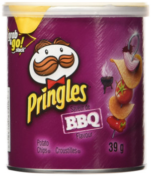 Pringles BBQ Potato Chips 39g/1.4oz, Cans, 12pk, {Imported from Canada}