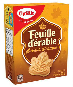 Christie Maple Leaf Maple Flavour Cookies 300g / 10.58oz, (12pk), {Imported from Canada}