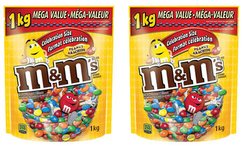M&M's Peanut Candies, Celebration Size, Stand up Pouch, 1kg/35oz. (2pk.) (Imported from Canada)