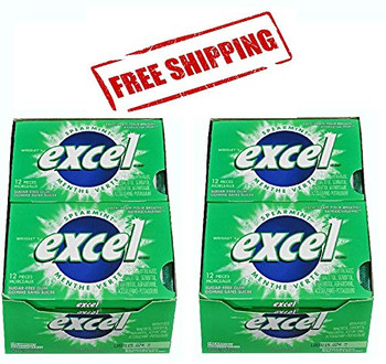 Excel Sugar-Free Gum, Spearmint, 12 Count (2 Pack) {Imported from Canada}