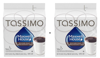 Tassimo Maxwell House Dark Roast Coffee Single Serve T-Discs, 14 T-Discs (2 Pack) {Imported from Canada}