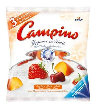 Campino 3 Flavor Yogurt & Fruit Hard Candies (2pk) Strawberries, Cherry, Peach A Sweet Combination (120g/4.2oz per BAG)