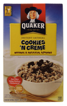 Quaker Cookies 'n' Creme Instant Oatmeal (8 x 38g/1.3 oz.) 304g Box {Imported from Canada}