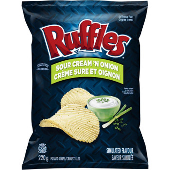 Ruffles Sour Cream & Onion Potato Chips 220g/7.8 oz. {Imported from Canada}