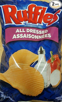 Lay's Ruffles Chips, All Dressed, 585g/20.63oz - 2pk  {Imported from Canada}