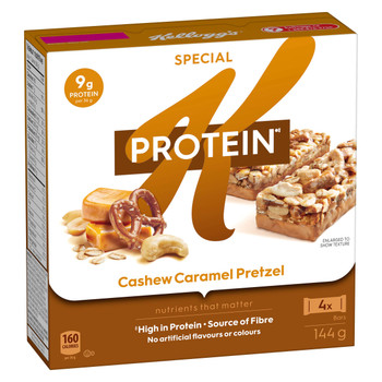 Kellogg's Special K Protein Bars Cashew Caramel Pretzel, 4ct, 144g/5.1 oz {Imported from Canada}