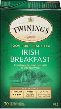Twinings of London Irish Breakfast Tea Bags, 20 Count (Pack of 6)