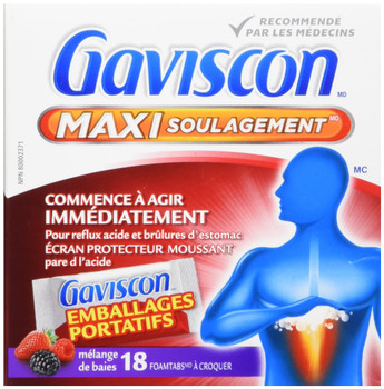 Gaviscon Max Berry- Long-Lasting Acid Reflux and Heartburn Relief, 18 Count {Imported from Canada}