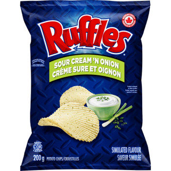 Ruffles Sour Cream 'n Onion Potato Chips (200g/7.1 oz.) {Imported from Canada}