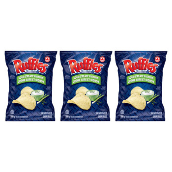 Ruffles Sour Cream 'N Onion Potato Chips 200g/7.05oz, 3-Pack {Imported from Canada}