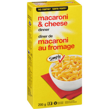 NO NAME Macaroni & Cheese Dinner 200g/7.1 oz. Box, {Imported from Canada}