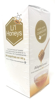 Beemaid Honey Packets (120 X 7g - 100% Canadian Honey - Li'l Honeys Packages) 840g Box {Imported from Canada}