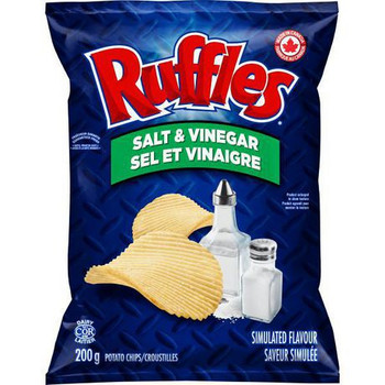 Ruffles Salt & Vinegar Potato Chips, 200g/7.1 oz. Bag {Imported from Canada}