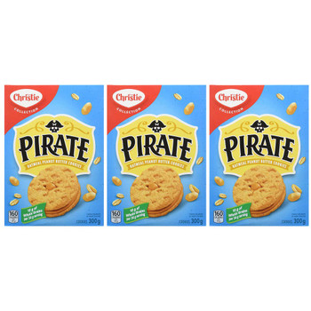 Christie Pirate Oatmeal Peanut Butter Cookies, 300g/10.6oz, 3-Pack {Imported from Canada}