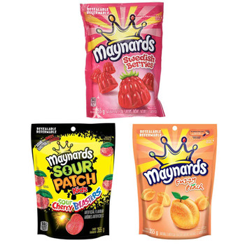 Maynards Sour Cherry Blasters, Swedish Berries and Fuzzy Peach Candy Variety 355g/12.5oz, 3-Pack{Imported from Canada}