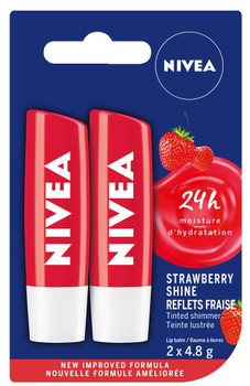 NIVEA Strawberry Shine Tinted Caring 24H Moisture Lip Balm Sticks, Duo Pack, (2 x 4.8g)