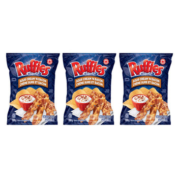 Ruffles Sour Cream 'N Bacon Potato Chips 200g/7.05oz, 3-Pack {Imported from Canada}
