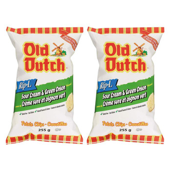 Old Dutch Rip-L Sour Cream & Green Onion Gluten Free Chips 255g/8.9oz, 2-Pack {Imported From Canada}