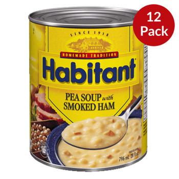 Habitant Pea Soup with Smoked Ham 796ml/28 fl. oz. 12-Pack {Imported from Canada}