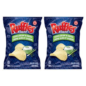 Ruffles Sour Cream 'n Onion (2-Pk) 200g/7.1 oz., per bag {Imported from Canada}