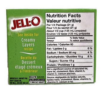 Jello, Lime Flavoured, Fat Free, 85g/ 3 oz., (3) Powder Packages {Imported from Canada}