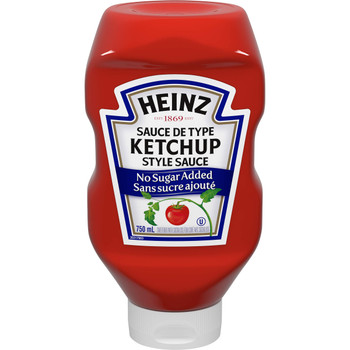 HEINZ Ketchup No Sugar Added, 750ml, 25.4oz., (12 pack) {Imported from Canada}