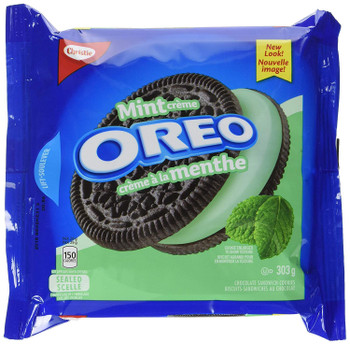 Oreo Mint Creme Chocolate Sandwich Cookies 303g/10.7 oz., (3pk) {Imported from Canada}