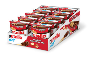 Nutella and Go Snack Packs, Chocolate Hazelnut Spread with Breadsticks, 10ct, 52g/1.8 oz per pack, {Imported from Canada}