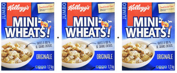 Kellogg's Mini-Wheats Cereal Jumbo Size, (3 pack) 1.2kg/2.6lbs., {Imported from Canada}