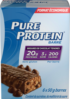 Pure Protein Bars, Gluten Free, Chewy Chocolate Chip, 50g, 6ct, {Imported from Canada}
