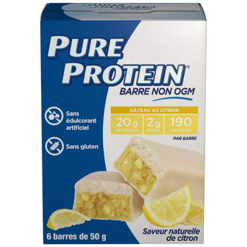 Pure Protein Bars, Non-Gmo, Lemon Cake Flavor, Value Pack, 50g, 6 count Box, {Imported from Canada}