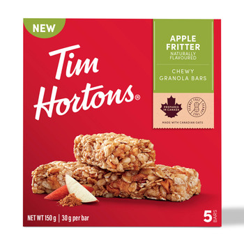 Tim Hortons Apple Fritter Granola Bars, Peanut Free, 5 Count, {Imported from Canada}