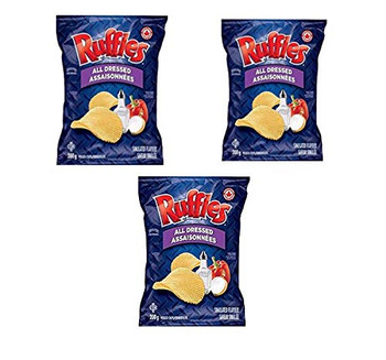 Lay's Ruffles All Dressed Chips - 3 Large Bags - 3 x 200g/7.1 oz {Imported from Canada}
