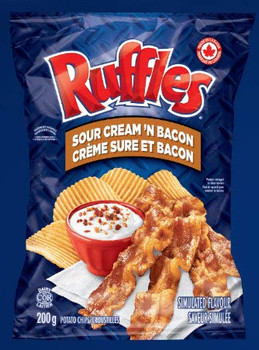 Lays Ruffles Sour Cream & Bacon Chips, Large Bag {Imported from Canada}