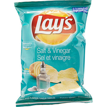 Lays Salt & Vinegar Chips, 40ct x 40g/1.4 oz., Bags, Vending Size {Imported from Canada}