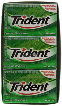 Trident Spearmint Sugar Free Gum, 12ct x 14pcs, (Imported from Canada)