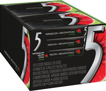 Wrigley 5 Prism Electric Watermelon Sugar Free Gum, 10ct x 15pcs, (Imported from Canada)