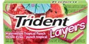 Trident Layers Sugar Free Gum (14-Pieces/Pack, 12ct/Box) (Watermelon Tropical Punch) (Imported from Canada)