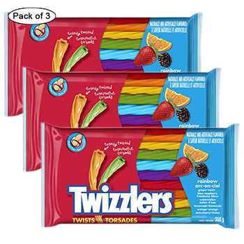 Twizzlers Rainbow Twists Licorice, 350g/12.3 oz., (Pack of 3) {Imported from Canada}
