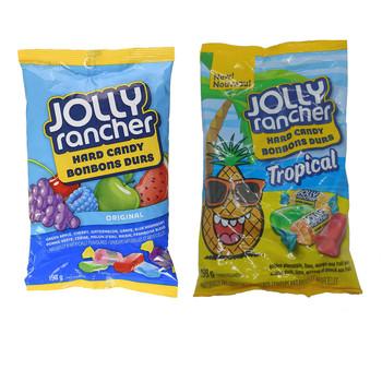 Jolly Rancher Fruity Hard Candies Bundle: 1 Bag Original Flavours (198g) & 1 Bag Tropical Flavours (198g)