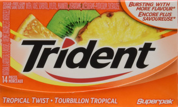 Trident Sugar Free Tropical Twist Gum Superpak, 12 Pack (14 Pieces Each) {Imported from Canada}